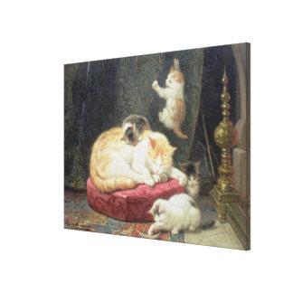 Fireside Bliss (oil on panel) Canvas Print