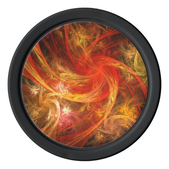 Firestorm Nova Abstract Art Poker Chips