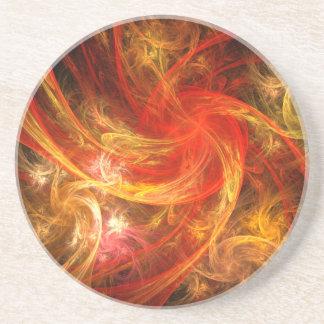 Firestorm Nova Abstract Art Sandstone Coaster