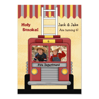 Firetruck 2 Photo Birthday Party Invitation
