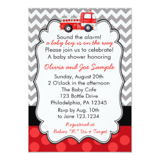 Firetruck Baby Shower Invitation
