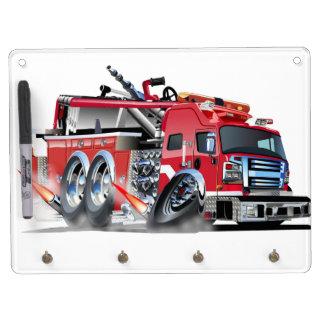 firetruck burnout dry erase board with keychain holder