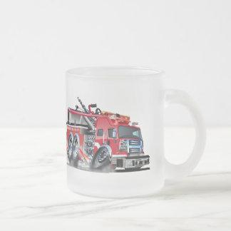 firetruck burnout frosted glass coffee mug