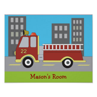 FIRETRUCK Fire Engine Boys Room Print