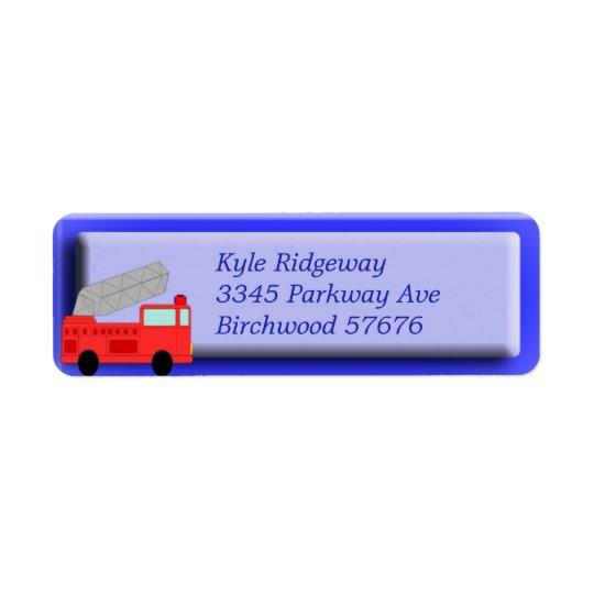 Firetruck Return Address Label