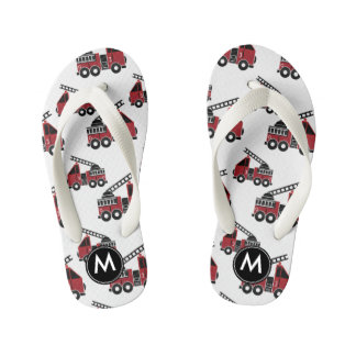 Firetrucks monogram design kid's flip flops
