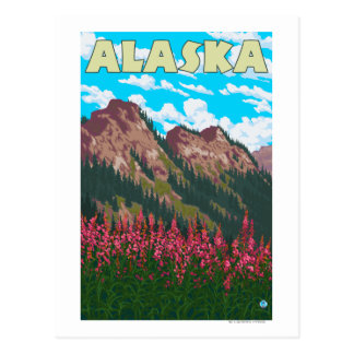 Fireweed with Mountains Vintage Travel Poster Postcard