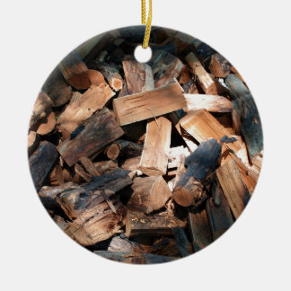 firewood ceramic ornament