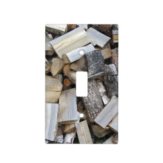 Firewood  logs photograph light switch cover