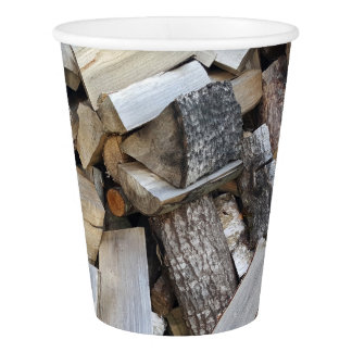 Firewood  logs photograph paper cup