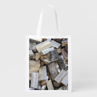 Firewood  logs photograph reusable grocery bag