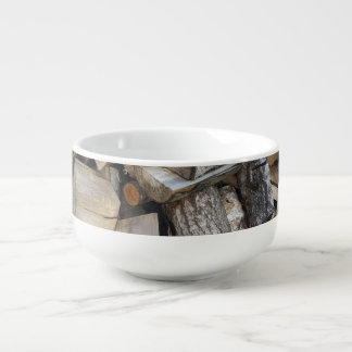 Firewood  logs photograph soup mug