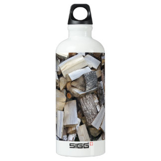 Firewood  logs photograph water bottle
