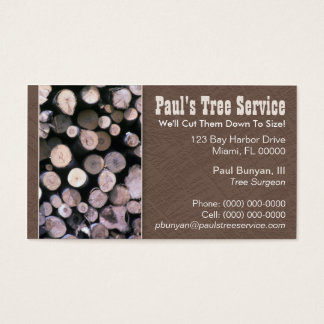 Tree trimming business cards and business card templates for Firewood business cards