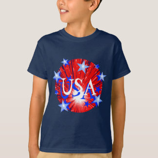 Firework Red White Blue 'USA' kids t-shirt