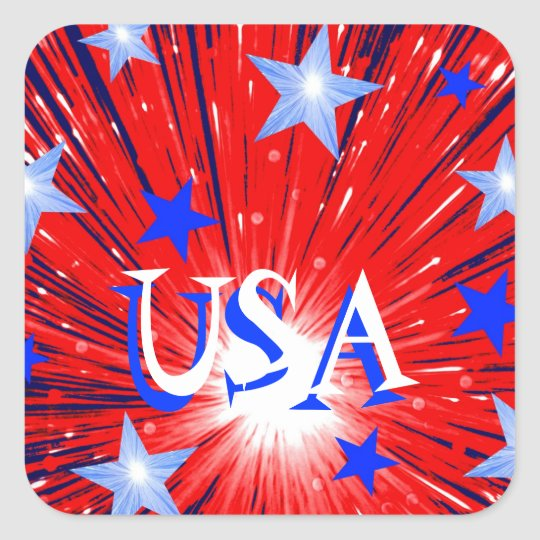 Firework Red White Blue 'USA' sticker square
