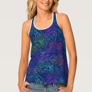 Fireworks 4th of July Colorful Summer Pattern Tank Top
