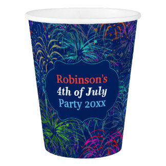 Fireworks 4th of July Party | Personalized Summer Paper Cup