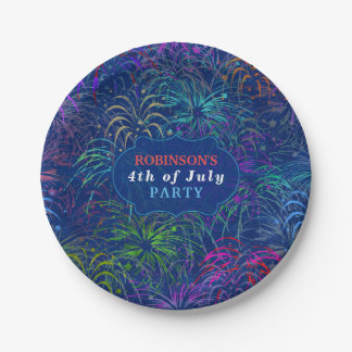 Fireworks 4th of July Party   Personalized Summer Paper Plate