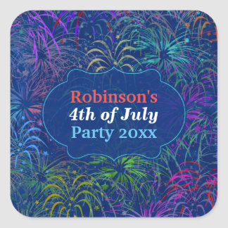 Fireworks 4th of July Party | Personalized Summer Square Sticker