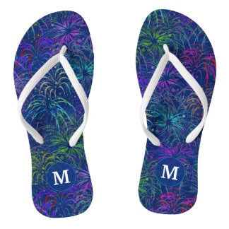 Fireworks 4th of July Summer Pattern | Monogrammed Flip Flops