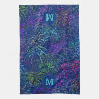 Fireworks 4th of July Summer Pattern   Monogrammed Kitchen Towel