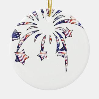 Fireworks America USA National Flag Independence D Round Ceramic Ornament