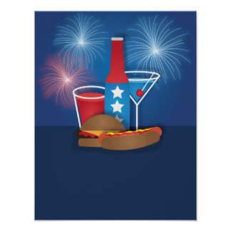 Fireworks and Food Patriotic Poster 12x16