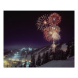 Fireworks at Big Mountain Resort in Whitefish, Poster