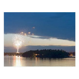 Fireworks at Dusk over Gull Lake Postcard
