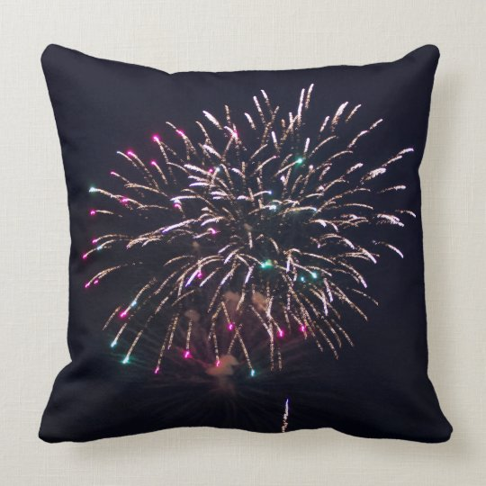 Fireworks at Night Photo Throw Pillow