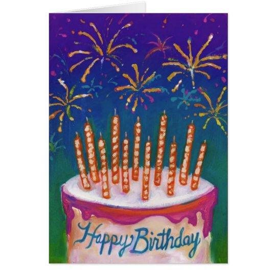 Fireworks Birthday Cake Card