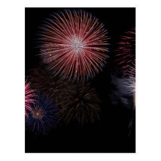 fireworks christmas new year postcard