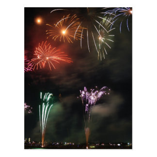 Fireworks Colorful Night Sky Postcard