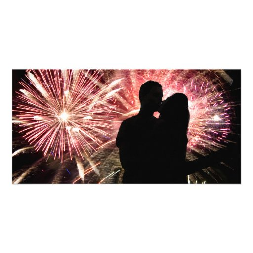 Fireworks Couple Kissing Silhouette Custom Photo Card