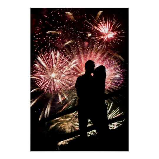 Fireworks Couple Kissing Silhouette Poster