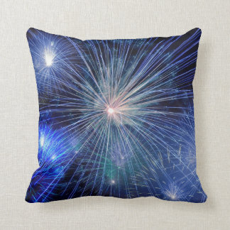 FIREWORKS DISPLAY, Blue & Multicolor Throw Pillow