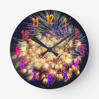Fireworks Display Round Clock