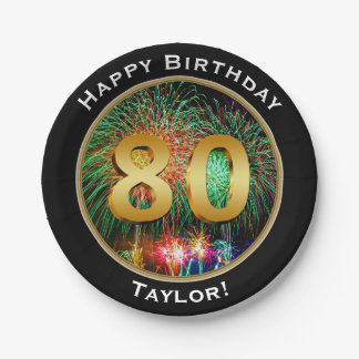 Fireworks eightieth 80th  Birthday with Name Paper Plate