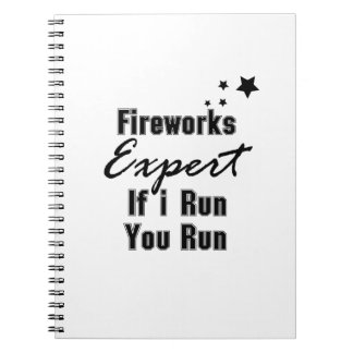 Fireworks Expert Funny 4th of July for Men Women Spiral Notebook