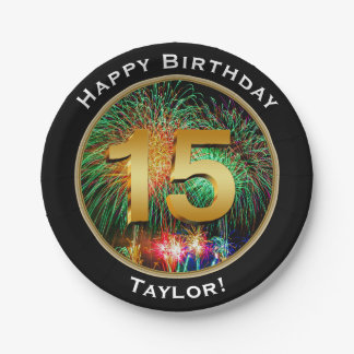 Fireworks Fifteenth 15th Birthday with Name Paper Plate