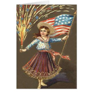 Fireworks Firecracker Girl US Flag Star Card