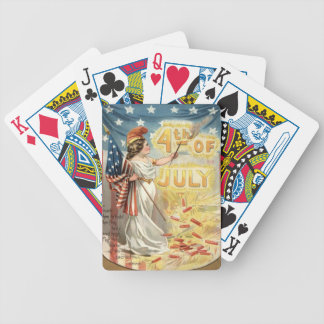 Fireworks Firecracker Lady Liberty US Flag Bicycle Playing Cards