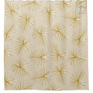 Fireworks Gold Cream Modern Shower Curtain Set