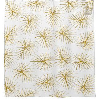 Fireworks Gold White Modern Shower Curtain Set
