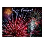Fireworks, Happy Birthday! Postcard