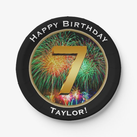 Fireworks Happy Seventh 7th Birthday with Name 7 Inch Paper Plate