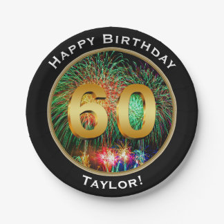 Fireworks Happy Sixtieth 60th Birthday with Name Paper Plate