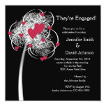 """Fireworks & Hearts Tree Engagement Announcement 5.25"""" Square Invitation Card"""