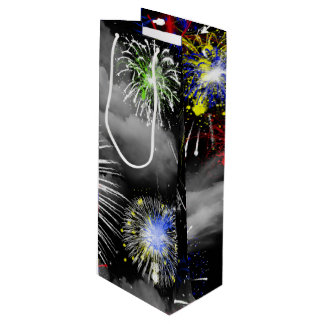 fireworks in clouds wine gift bag